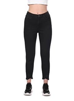 BLUE WHİTE Kadın Paça Detaylı Siyah Jean Pantolon